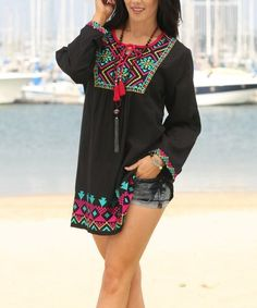 Love this Black & Fuchsia Geometric Embroidered Tunic on #zulily! #zulilyfinds
