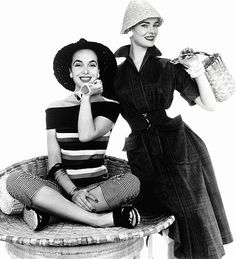 Marla Scarafia in Dorville striped T-shirt and Londonus striped jeans, and Susan Abraham in Susan Small summer dress, photo John French. London, UK, 1954