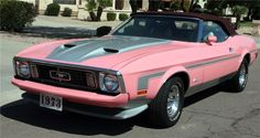 """This PINK 1973 FORD MUSTANG was special ordered in 1973 by Alice Wallace of Altamonte Springs, Florida. This is a factory pink car, the original window sticker denotes """"special order - special paint."""""""