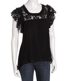 Take a look at this Black Lace Tee by Rain on #zulily today! - Love This!