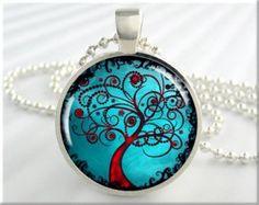 Tree Of Life Jewelry Pendant Winter Snow Tree by MGArtisanPendants