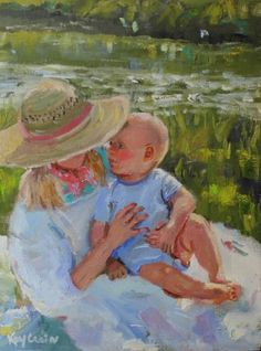 By The Lake- sister with baby brother , painting by artist Kay Crain
