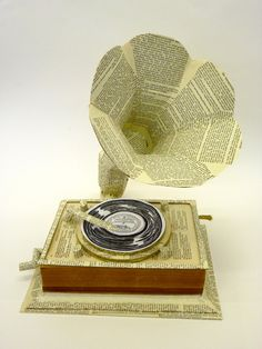 3D book art - gramophone