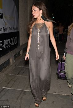 Anna Friel  grey silk maxi-dress