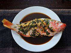 """Steamed"" Red Snapper with Ginger and Soy Sauce 