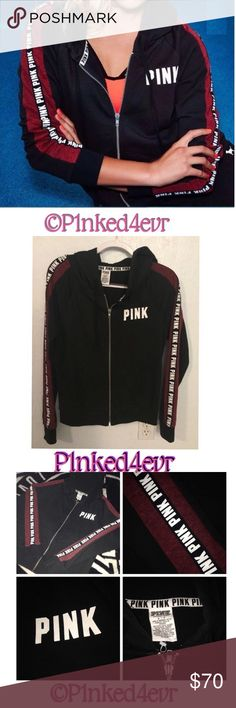 VS PINK Logo Stripe Black & Maroon Full Zip Hoodie VS PINK Logo Stripe Black & Maroon Full Zip Hoodie size small. In like new condition literally only had on for maybe a few hours. Has been washed on delicate and hung to dry and ready for a new home. Runs pretty true to size. ❌SELECTIVE TRADES FOR OTHER VS PINK WITH ESTABLISHED TRADERS ONLY- SEE TRADING RULES LISTING FOR DETAILS❌ PINK Victoria's Secret Tops Sweatshirts & Hoodies
