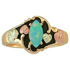 Black Hills Gold- -Tricolor 10K Gold Ladies' Antiqued Opal Ring