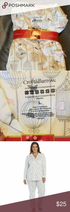 Womens Bird Cage Print Knit Pajama Set Croft&barrow Womens Bird Cage Print Knit Pajama Set croft & barrow Intimates & Sleepwear Pajamas