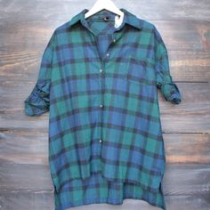 oversize flannel shirt dress in green