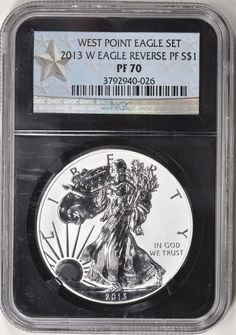 2013-W $1 Silver Eagle Reverse Proof NGC Proof-70 (Black Retro Label) Silver Eagle Coins, Silver Eagles, Bullion Coins, Silver Bullion, In God We Trust, Personalized Items, Retro, Label, Ebay