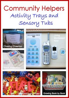 Community Helpers Activity Trays and Sensory Tubs