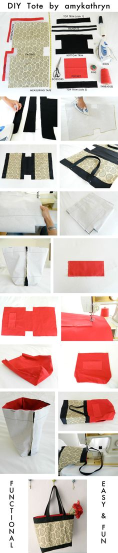 Do it yourself Make your own tote. weekend craft #diy #tote bag by @amykathryn Cambia le maniglie come ti piacciono e falla più grande per piscina