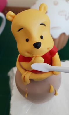 Winnie the Pooh fondant cake topper, Winnie the Pooh Inspired Fondant Cake Topper, Winnie the Pooh birthday cake Winnie The Pooh Cake, Winnie The Pooh Birthday, Cake Toppers, Fondant, Birthday Cake, Inspired, Handmade Gifts, Etsy, Kid Craft Gifts