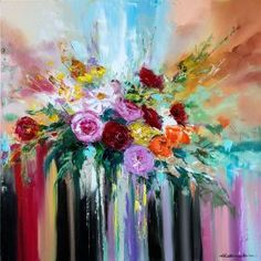 ARTFINDER: 'Purpure Roses Bouquet' by Ewa Czarniecka - Oil on canvas multi layered technique uses both knife and brush to build atmospheric scenes of dramatic depth and beauty. Picture continues around the edg. Flower Artists, Spring Painting, Oil Painting Flowers, Diy Canvas Art, Art For Art Sake, Flower Wallpaper, Tree Art, Floral Watercolor, Bunt