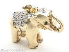 3.44CT Fine Diamond, Emerald & Ruby Custom Elephant Pendant 14K Yellow Gold