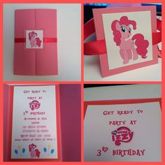 Pinkie pie invitation, my little pony invitation