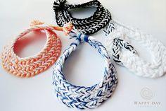 Laranja Branco Bib Necklace Algodão Africano por JewelleryHappyDay