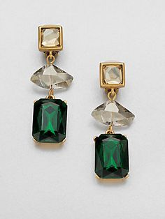 Oscar de la Renta Faceted Clip-On Earrings