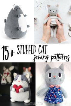 Do you know any kitty lovers? Here are some plush cat sewing patterns to try. Cat Quilt Patterns, Doll Patterns Free, Plushie Patterns, Animal Sewing Patterns, Softie Pattern, Christmas Sewing Patterns, Modern Sewing Patterns, Clothes Patterns, Sewing Stuffed Animals