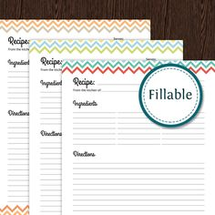 recipe card full page colourful chevron fillable printable pdf instant download