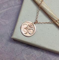 Rose gold om necklace yoga jewelry ohm aum by WendyShrayDesigns