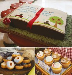 teddy bear picnic birthday party with a book shaped cake and donuts