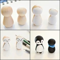 How to paint peg dolls so they look like penguins.