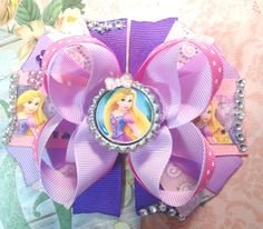Rapunzel Hair Bow/Rapunzel Tangled Inspired Girls Hair Bow/Girly Curl Bow/Boutique Style Hair Bow/Rapunzel Party Hair Bow/Princess Hair Bow by GirlyCurlBowtique on Etsy