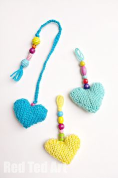 "Knitted Hearts - Key Rings, Zipper Pulls, book marks - these are super cute to make and are a great ""beginners"" knitting pattern"