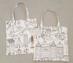 Make tote bags out of this fun Ikea print, then let kids color them in with fabric markers.