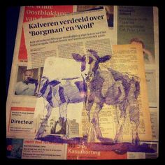 5/6th October - What about the Calves #dailydrawing - bic and collage on newspaper