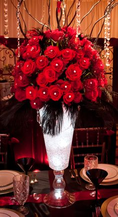 Gorgeous Red and Black Rose and Crystal Centerpiece with Feathers