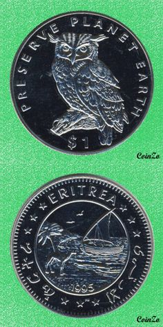 Cape Eagle Owl, Eritrea 1 Dollar 1995 Copper-Nikel 28.7 g 38.7 mm KM-31
