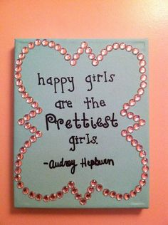 """Happy girls are the prettiest girls"". - Audrey Hepburn love this but it would be much cuter without the phi mu LIOB thing. Little Presents, Arts And Crafts, Diy Crafts, Sorority Crafts, Phi Mu, Sorority Life, Tumblr, Quatrefoil, Happy Girls"
