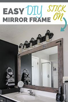 One of the quickest and easiest ways to add character to a boring bathroom is to add a stick on mirror frame. Paint it all one color for a sleek look, or distress it for a rustic farmhouse style. In this tutorial you will learn two easy ways to create a Bathroom Mirrors Diy, Small Bathroom, Bathroom Mirror Makeover, Master Bathroom, Diy Mirror Decor, Bathroom Vanities, Bathroom Makeovers On A Budget, Bathroom Fixtures, Easy Bathroom Updates