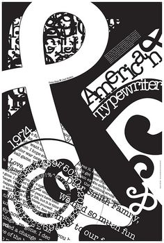This is my type for my project. I love what they did here with the black and white with all the mixing of letters and overlapping. Design Basics, Education Logo, Typewriter, Journal Inspiration, Symbols, Letters, Graphic Design, Black And White, American