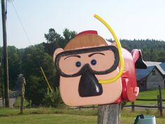 swimmer scubba man mailbox by CrossKnots on Etsy, $145.00 with free shipping