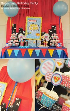 #Superhero #Birthday Party via Karas #Party #Ideas