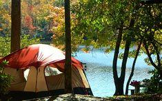 Fall camping on Price Lake Blue Ridge Parkway, Blowing Rock, NC.