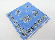 ICYMI: Vintage Blue Floral Hankie, Blue and White Flowers with Green Leaves, Gift for Mom: Offered by VintagObsessions, this blue on blue… Vintage Handkerchiefs, Gold Wash, Blue Zircon, Vintage Gifts, Vintage Earrings, Green Leaves, White Flowers, Gifts For Mom, Blue And White