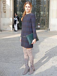 【ELLE】オリヴィア・パレルモのチェックドレスは「ザラ」|エル・オンライン
