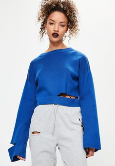 Blue Cut Out Flare Sleeve Knitted Jumper - Missguided