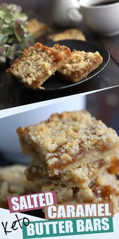 Keto Snacks Discover Keto Salted Caramel Butter Bars So gooey and delicious you wont believe that these salted caramel butter bars are low carb and grain-free. An amazing keto treat! Crumbly almond flour crust with a rich sugar-free caramel filling. Low Carb Cake, Low Carb Sweets, Low Carb Keto, Keto Desserts, Keto Snacks, Dessert Recipes, Dinner Recipes, Holiday Desserts, Breakfast Recipes