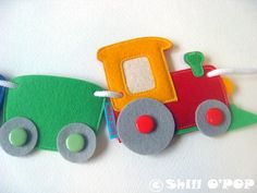 Awesome felt train banner that you can make for your little one. It is great for birthday party decoration but looks fantastic every day. The PDF