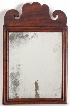 """Queen Anne mahogany courting mirror, ca. 1750, 16 1/2"""" x 10 1/2"""""""