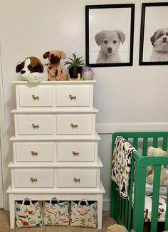 Kelly green and black and white puppy dog nursery with dog print wallpaper and art Puppy Nursery Theme, Dog Nursery, Girl Nursery Themes, Nursery Dresser, Nursery Twins, Nursery Design, Themed Nursery, Nursery Ideas, Elephant Nursery