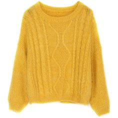 Split Cable Knit Yellow Sweater ($22) ❤ liked on Polyvore featuring tops, sweaters, yellow, yellow top, chunky cable knit sweater, yellow sweater, cable-knit sweater and cable sweater