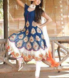 Buy Blue georgette embroidered semi stitched salwar with dupatta party-wear-salwar-kameez online