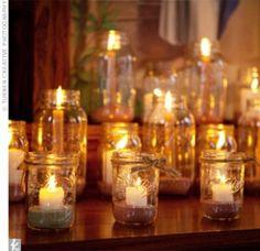 rustic wedding candles