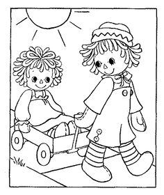 Redwork raggedy ann and andy machine embroidery patterns for Raggedy ann and andy coloring pages